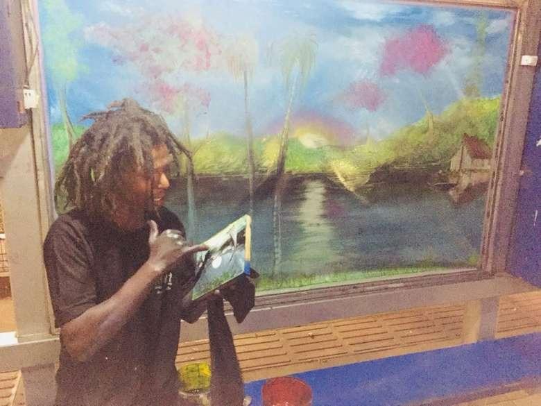 Horas depois de pichação, artista pede autorização e faz bela paisagem
