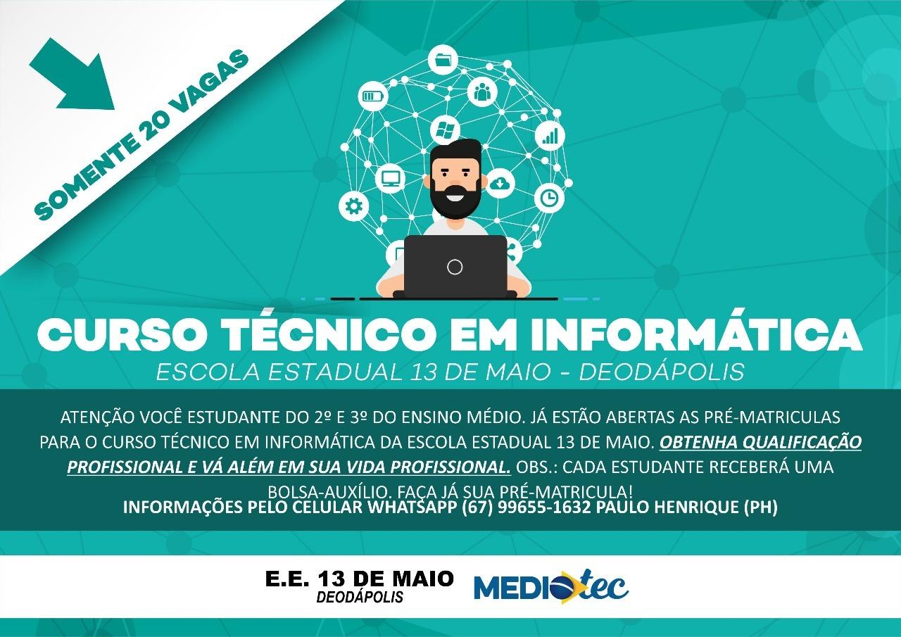Curso Técnico em Informática da E.E. 13 de Maio está com pré-matrículas abertas; estudantes receberão 'Bolsa-Auxílio'