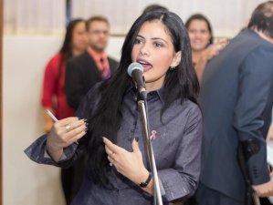 Grazielle Machado, do PSD, em fala na sessão da Assembleia. (Giuliano Lopes/ALMS)
