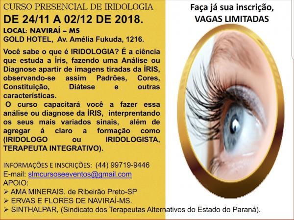 Oportunidade: Vem ai o curso intensivo de IRIDOLOGIA com vagas limitadas em Naviraí/MS