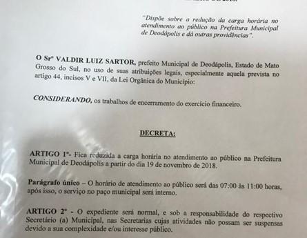 Prefeitura reduz horário de atendimento neste final de ano no Paço Municipal