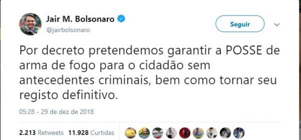 Bolsonaro anuncia que pretende liberar posse de armas 'ao cidadão sem antecedentes criminais'