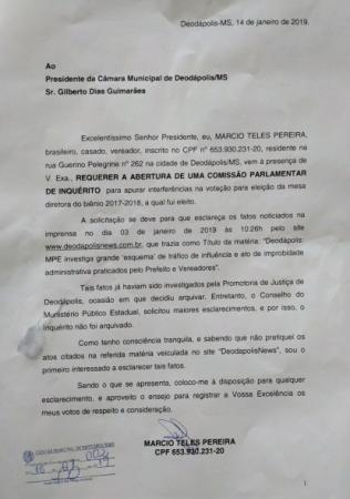 Vereador Márcio Teles protocolou pedido de abertura de CPI para apurar denuncias de 2016