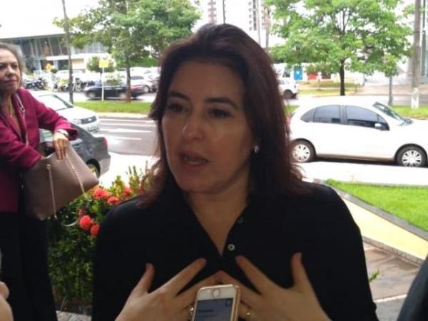 Senadora Simone Tebet (MDB), durante reunião estadual do partido (Foto: Leonardo Rocha)