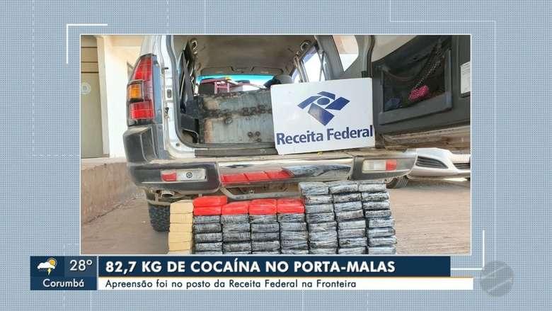Tabletes de cocaína apreendidos em Corumbá - Crédito: Reprodução/TV Morena