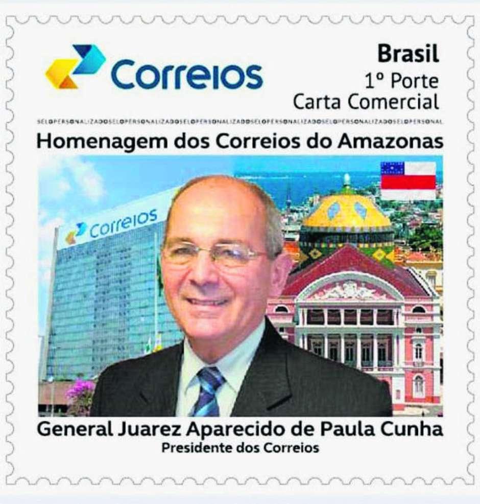 Selo personalizado com a foto do general Juarez Cunha Foto: REPRODUÇÃO / Estadão Conteúdo
