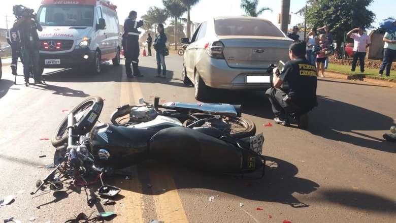 Acidente com vítima fatal, nesta tarde em Dourados - Crédito: Foto: Osvaldo Duarte