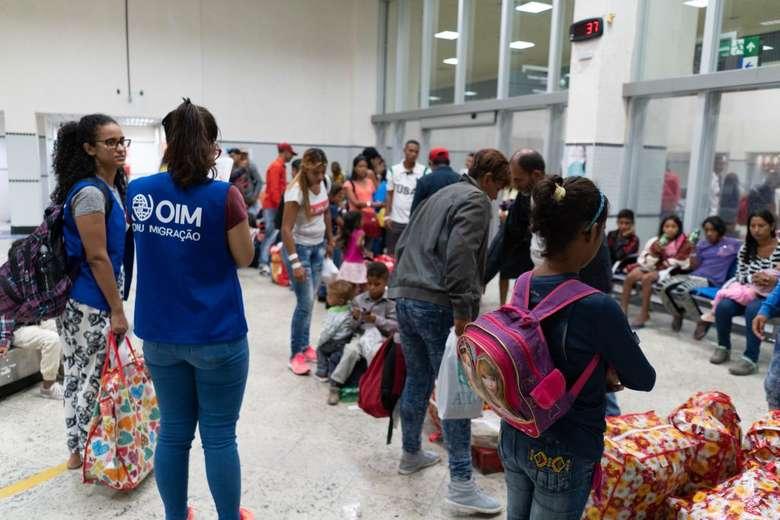 Chegada de venezuelanos a Dourados pela Operação Acolhida em fevereiro deste ano. - Crédito: Divulgação/ONU