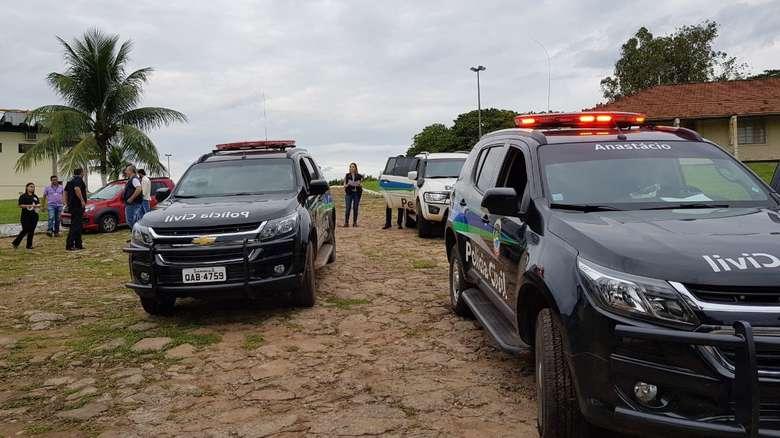 Viaturas da polícia em Anastácio - Crédito: Divulgação