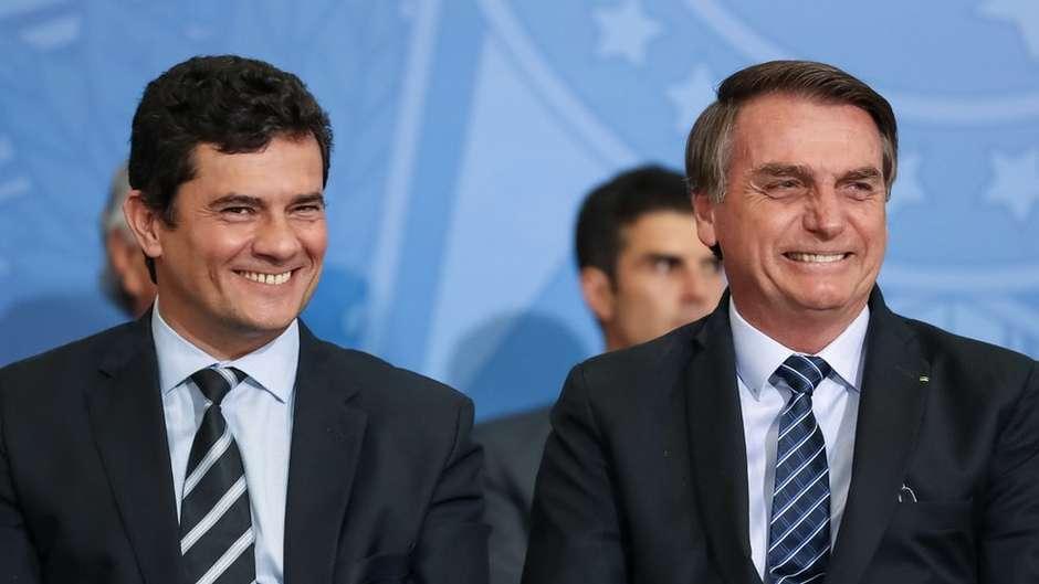 Nos últimos dias, Bolsonaro e Moro trocaram elogios em público. Mas reaproximação é incerta Foto: Presidência da República / BBC News Brasil