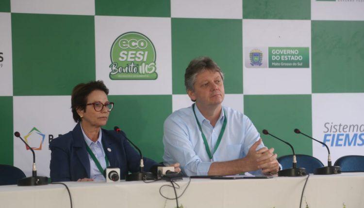 Ministra da Agricultura Tereza Cristina, ao lado do secretário da Semagro-MS, Jaime Verruck (Leonardo de França, Midiamax)