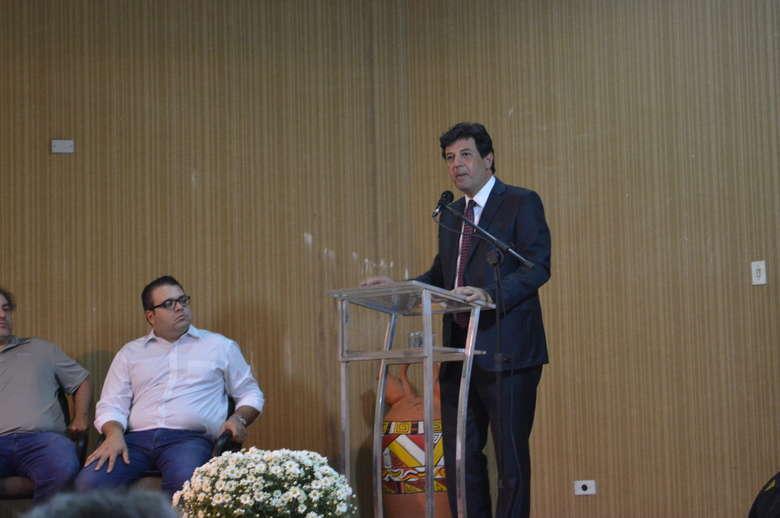 Ministro da Saúde Luiz Henrique Mandetta, durante pronunciamento. - Crédito: Vinicios Araújo/Dourados News