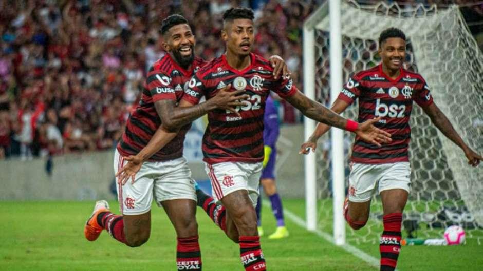 Bruno Henrique comemora gol do Flamengo (Marcelo Cortes / Flamengo) Foto: LANCE!