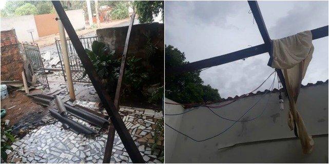 Casa de idosa ficou destelhada com força do vento. (Foto: Perfil News)