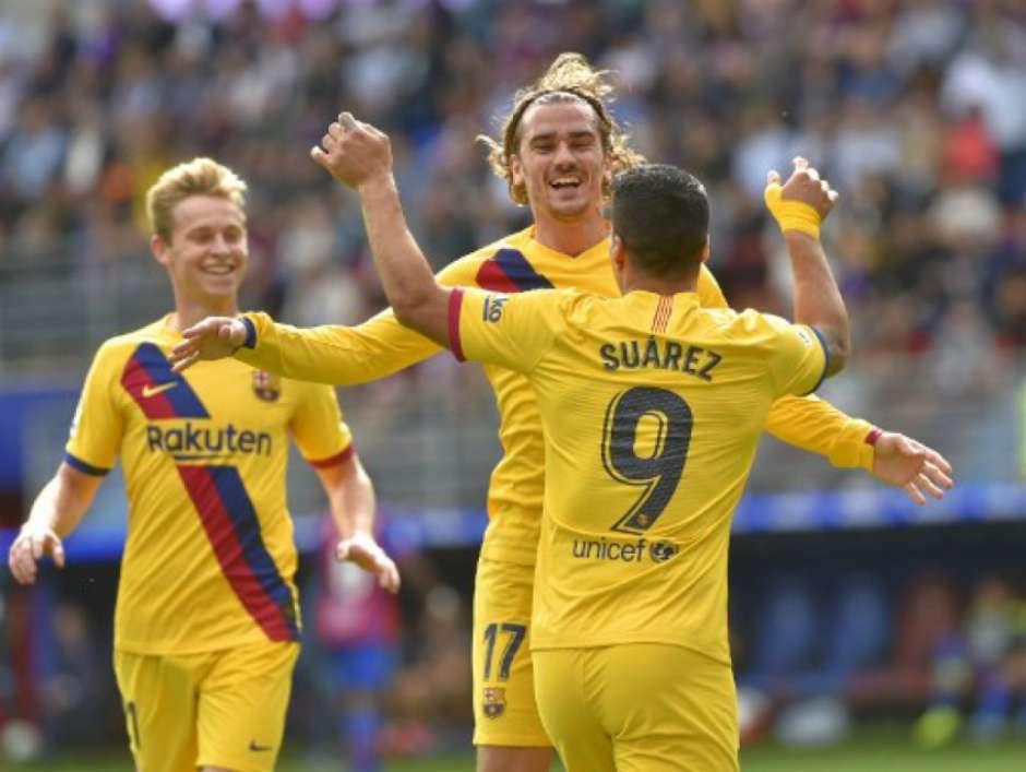 Griezmann, Suárez e Messi foram bem na última rodada do Espanhol (Foto: Ander Gillenea / AFP) Foto: Lance!