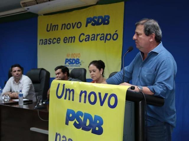 Presidente regional do PSDB, Sérgio de Paula, durante filiação em Caarapó (Foto: Divulgação/PSDB)