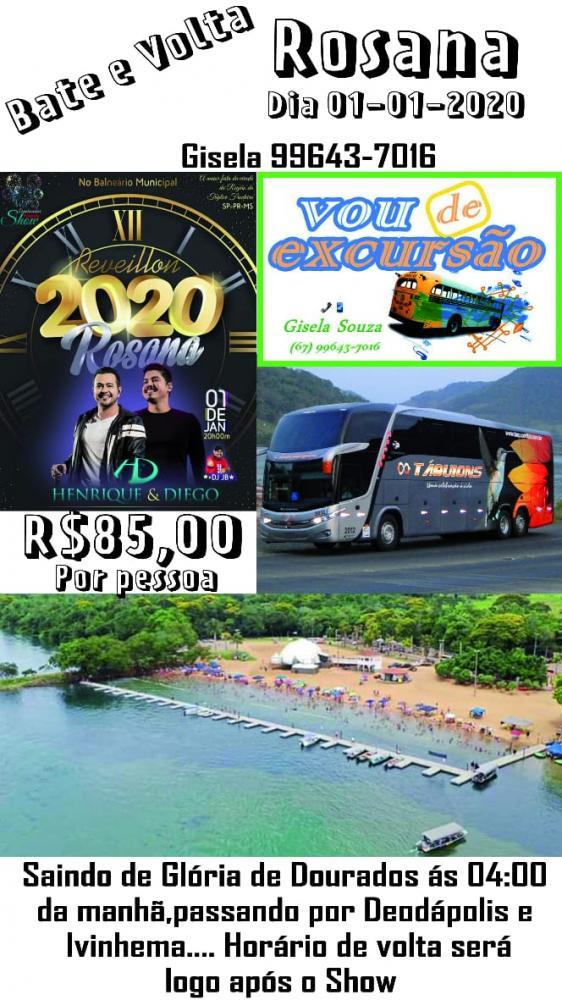 Ano Novo em Rosana/SP terá show nacional e empresa fará excursão 'Bate e Volta'