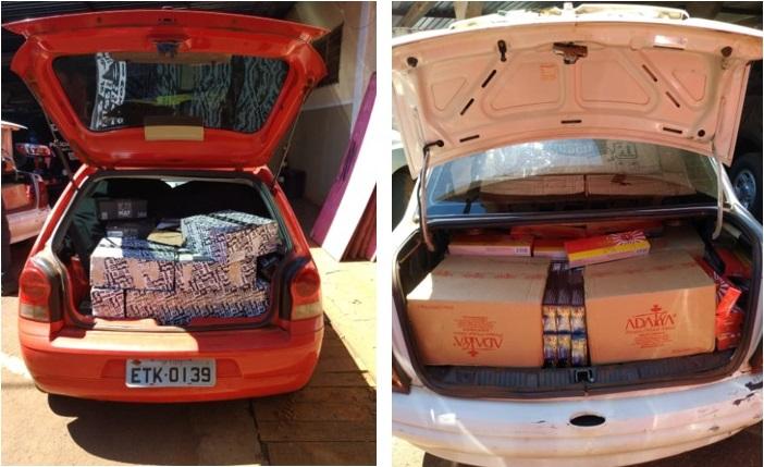 Produto contrabandeado era transportado em dois veículos abordados na rodovia MS- 379 - Crédito: Divulgação/Defron