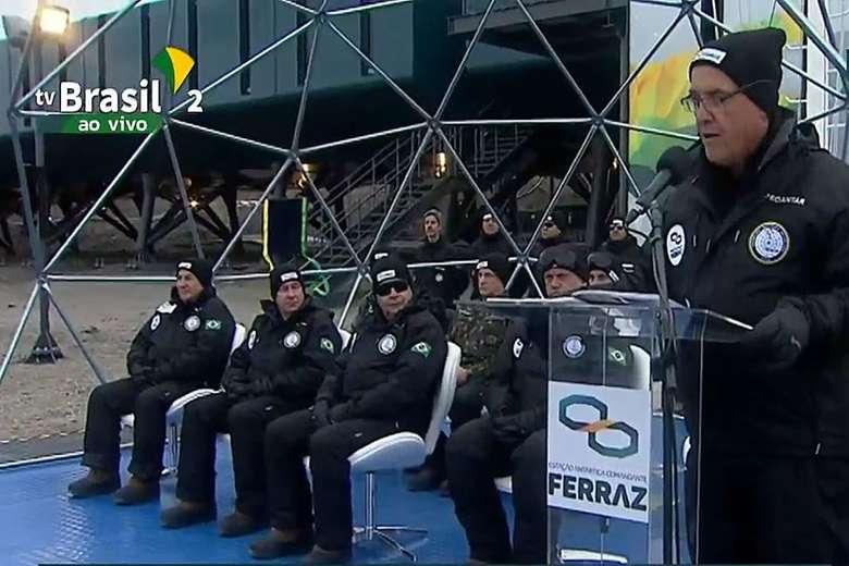 O vice-presidente da República, Hamilton Mourão participou da reinauguração da Estação Comandante Ferraz na Antártica - Crédito: TV Brasil