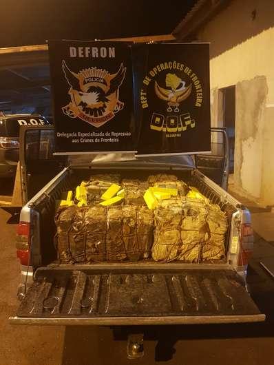 Carga de drogas é avaliada em mais de R$ 150 mil pelas autoridades - Crédito: Divulgação/Defron