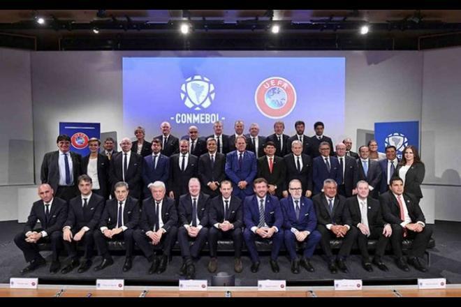 Dirigentes da Uefa e Conmebol estreitaram os laços - AP