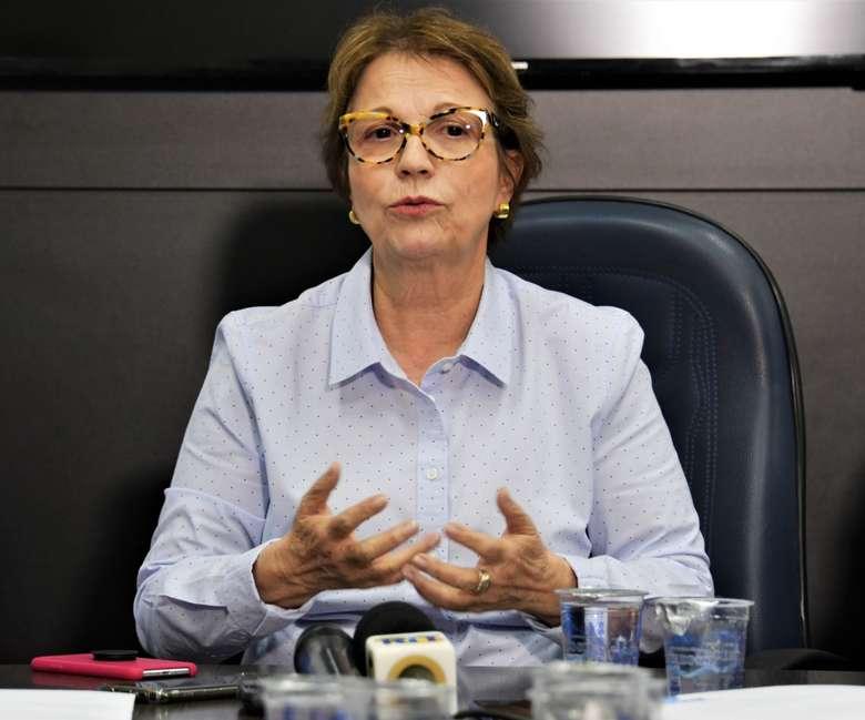 Ministra Tereza Cristina durante entrevista coletiva na Aced - Crédito: Hedio Fazan/Dourados News