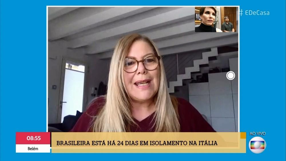 Brasileira que mora na Itália conta como a situação está sendo enfrentada no país — Foto: TV Globo