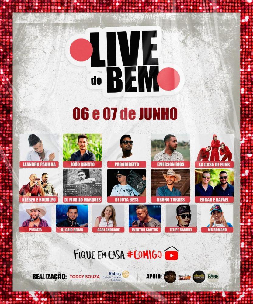 Toddy Souza e Rotary Clube Guaicurus vão realizar nos dias 06 e 07 de junho 'Live do Bem'