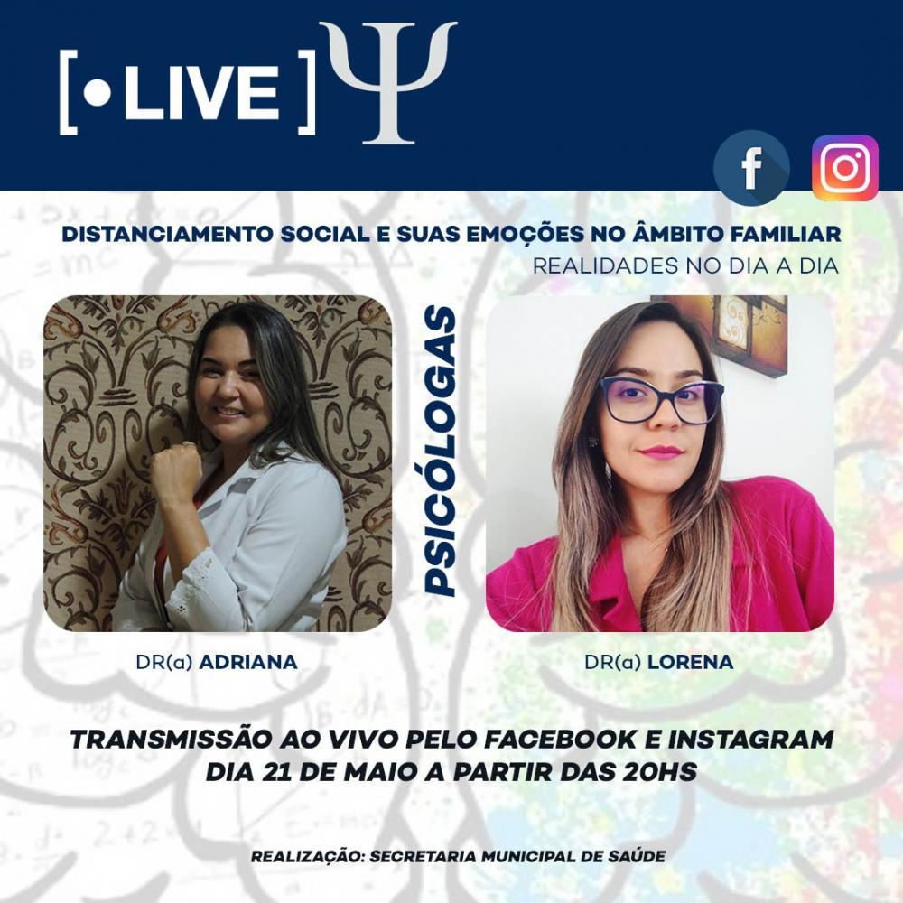 Dia 21/05: Saúde vai realizar live com Psicólogas com temas relacionados ao Distanciamento Social