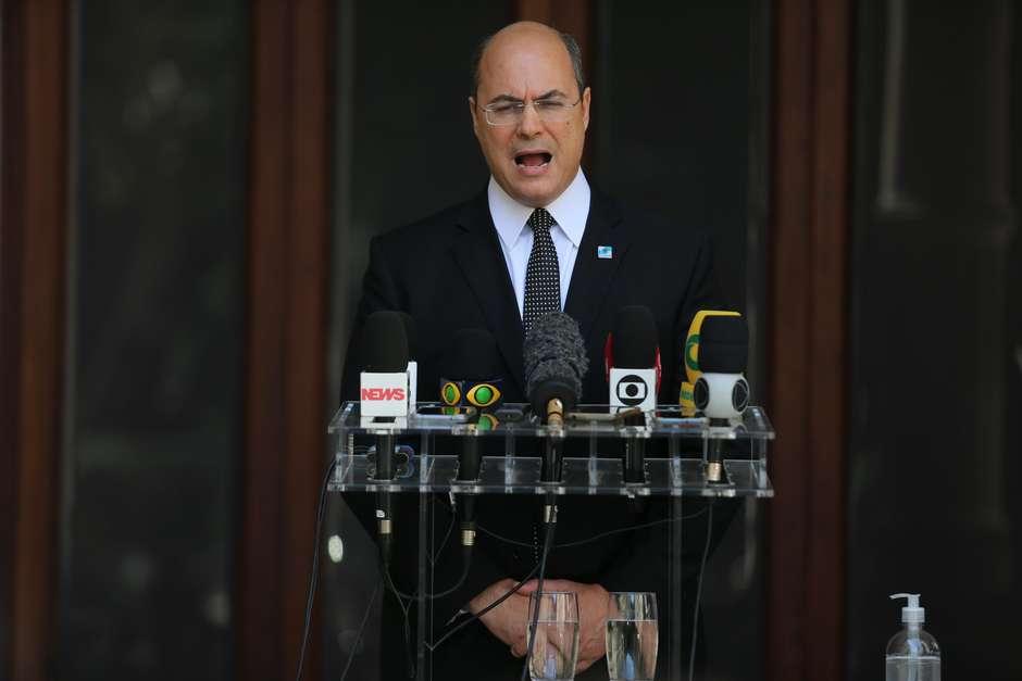Pronunciamento do governador do Rio de Janeiro, Wilson Witzel, realizado no Palácio Laranjeiras Foto: Wilton Junior / Estadão Conteúdo