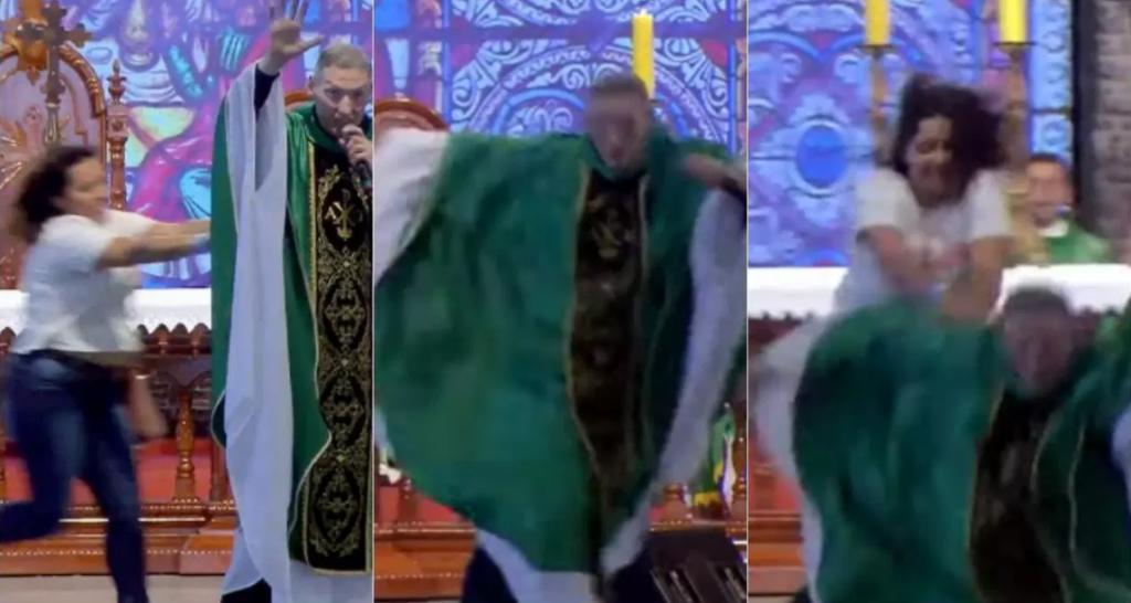 Mulher empurra Padre Marcelo Rossi em altar